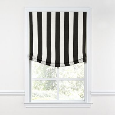 Black & White Awning Stripe Relaxed Roman Shade