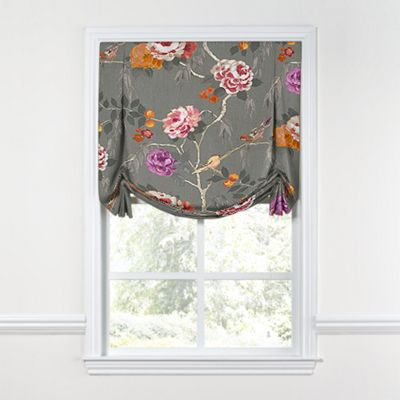 Painterly Pink & Gray Floral Tulip Roman Shade