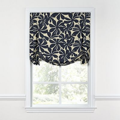 Navy Graphic Floral Tulip Roman Shade