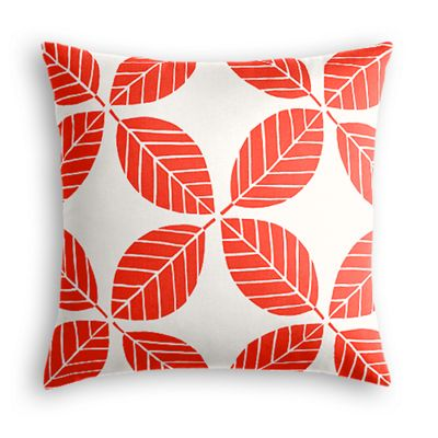 Geometric Coral Leaf Outdoor Pillow