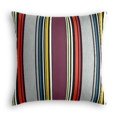 Purple Multicolor Striped Outdoor Pillow