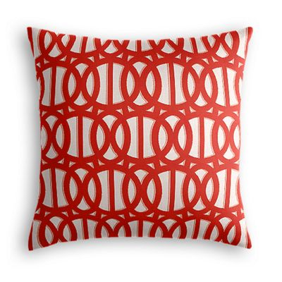 Coral Red Trellis Outdoor Pillow
