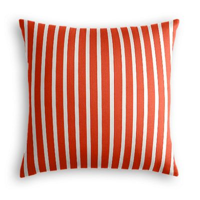 Flame Red Thin Stripe Outdoor Pillow