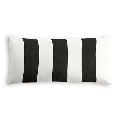 Black & White Awning Stripe Outdoor Lumbar Pillow
