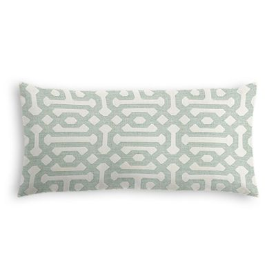 Pale Seafoam Trellis Outdoor Lumbar Pillow