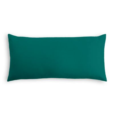 Teal Sunbrella® Canvas Outdoor Lumbar Pillow