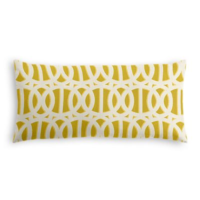 Bright Yellow Trellis Outdoor Lumbar Pillow