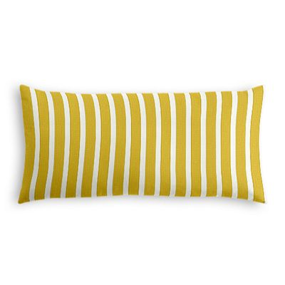 Bright Yellow Thin Stripe Outdoor Lumbar Pillow