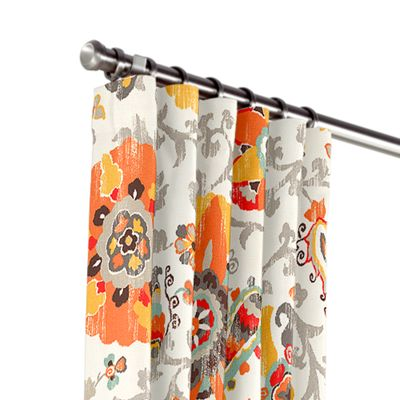 Orange Suzani Outdoor Curtains
