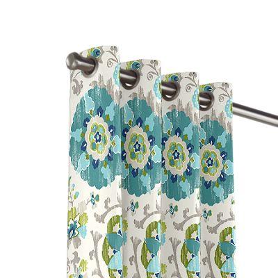 Aqua Blue Suzani Outdoor Grommet Curtains