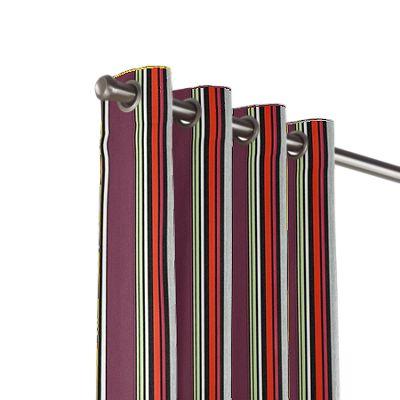 Purple Multicolor Striped Outdoor Grommet Curtains