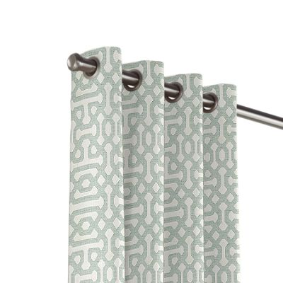 Pale Seafoam Trellis Outdoor Grommet Curtains