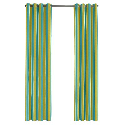 Lime & Teal Stripe Grommet Outdoor Curtain