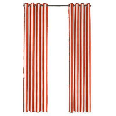 Red Awning Stripe Outdoor Grommet Curtains