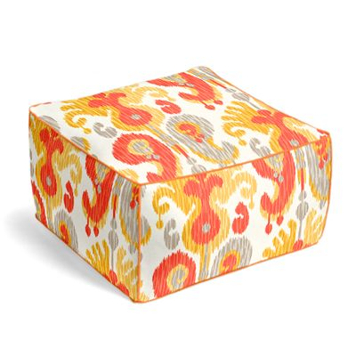 Red & Orange Ikat Outdoor Pouf