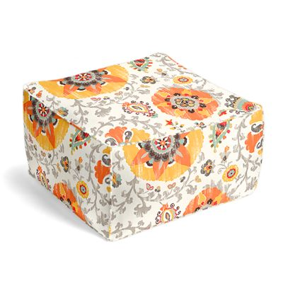 Orange Suzani Outdoor Pouf