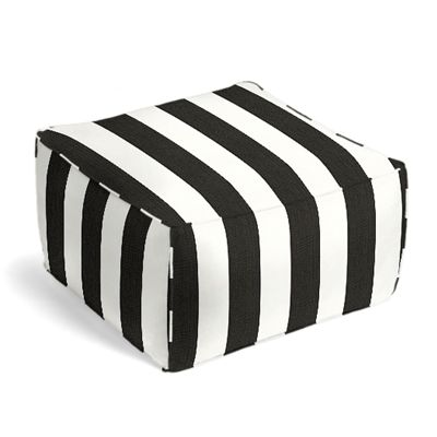 Black & White Awning Stripe Outdoor Pouf
