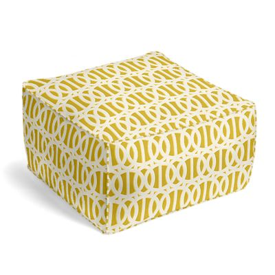 Bright Yellow Trellis Outdoor Pouf