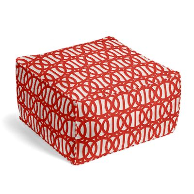 Coral Red Trellis Outdoor Pouf