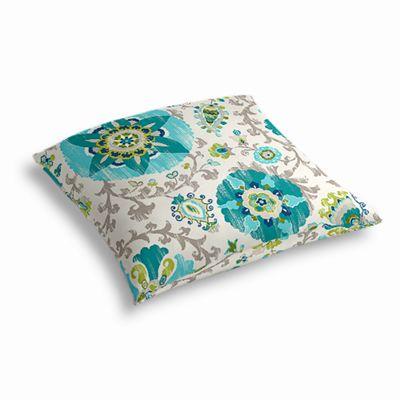 Aqua Blue Suzani Outdoor Floor Pillow