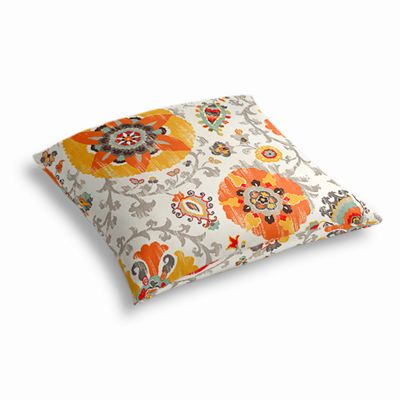 Orange Suzani Outdoor Floor Pillow