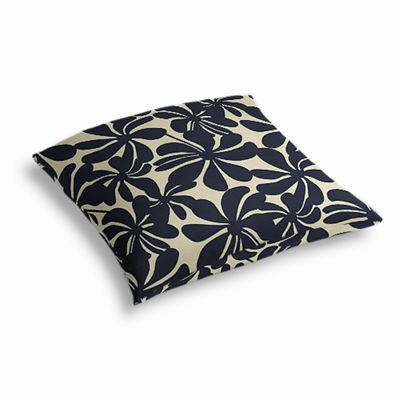 Navy Graphic Floral Outdoor Floor Pillow