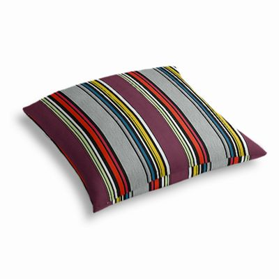 Purple Multicolor Striped Outdoor Floor Pillow