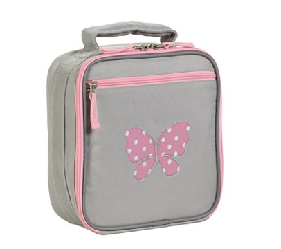 Fairfax Gray/Pink Lunch Bag, Butterfly