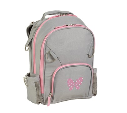 Fairfax Gray/Pink Small Backpack, Butterfly