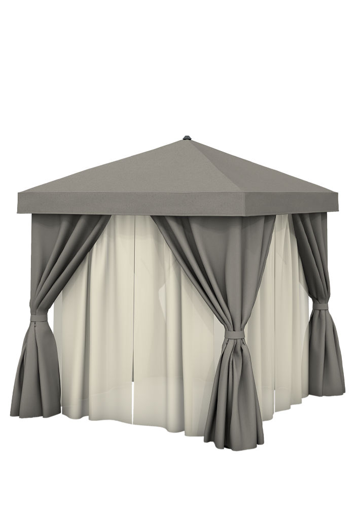 Aluminum Cabana, 10' Square w/ Fabric Curtains, Sheer Curtain Rods (no ...
