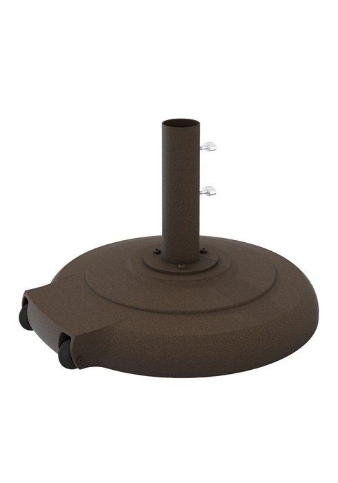 cement filled cast aluminum base 24 round w wheels 1 5