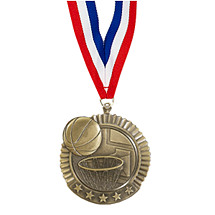 "2 3/4"" Basketball Star Medal with Ribbon"