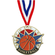 "2"" Colorful Basketball Medal with Neck Ribbon"