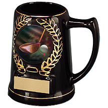 "5"" Black Ceramic Mug with Emblem"