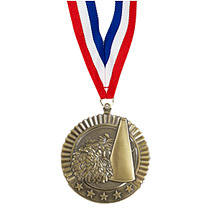 "2 3/4"" Cheerleading Star Medal with Ribbon"