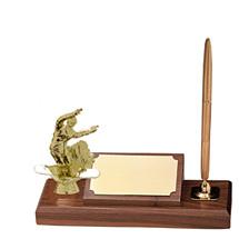 """2 1/2 x 7"""" Deskset with Figure & Gold Pen"""
