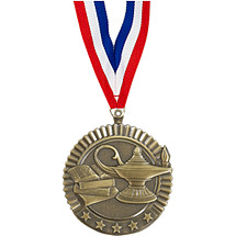 "2 3/4"" Lamp of Learning Star Medal with Ribbon"