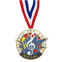 "2"" Colorful Music Medal with Neck Ribbon"