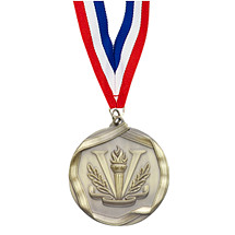 "2 1/4"" Antique Gold Victory Medal with Neck Ribbon"