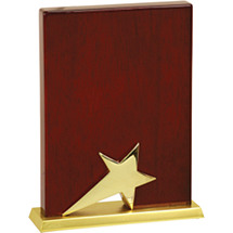 "6 x 8"" High Gloss Rosewood Finish Star Plaque"