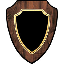 "7 x 9 - 8 x 10"" Large Black Brass Shield-Shaped Plaque"