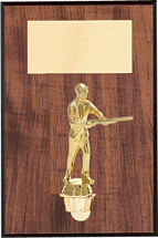 "7 x 9"" Walnut-Tone Wall Plaque with Gold Figure"