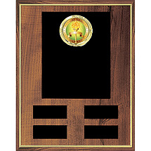 "9 x 12"" Perpetual Plaque w/Emblem and 4 Black Brass Ind. Plates"