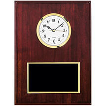 "9 x 12"" Traditional Plaque with Black Brass Plate & Quartz Clock"