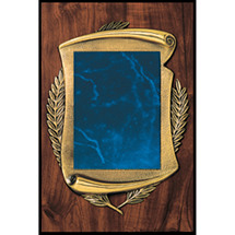"Large 10 x 15"" Topaz Blue Bronze Scroll Plaque"