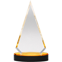 "3 3/4 x 6 3/4"" Triangle Sleek and Slender Diamond Lucite Award"