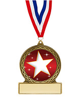 "2 3/4"" Stars Medal with Ribbon"