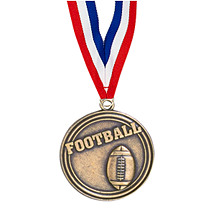 "2"" Football Medal with Ribbon"
