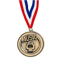 "2"" Music Medal with Ribbon"