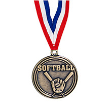 "Softball Medal - 2"" Softball Medal with Ribbon"